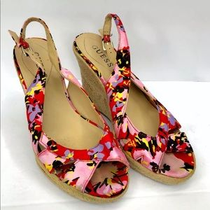 Guess Wedge Sandals Women's 6M Floral buckle strap